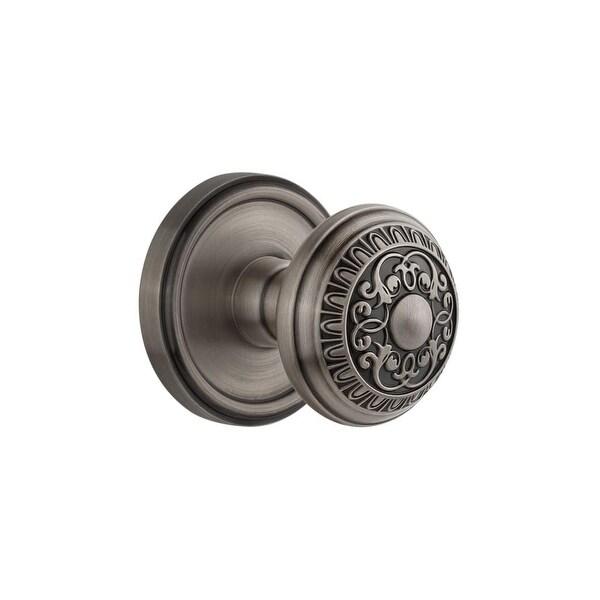 "Grandeur GEOWIN_PRV_238 Georgetown Solid Brass Rose Privacy Knob Set with Windsor Knob and 2-3/8"" Backset"