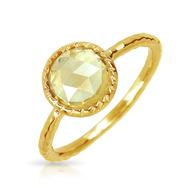 Solitaire Citrine Ring Set In Yellow Gold Plated Silver Color Stone Birthstone Ring