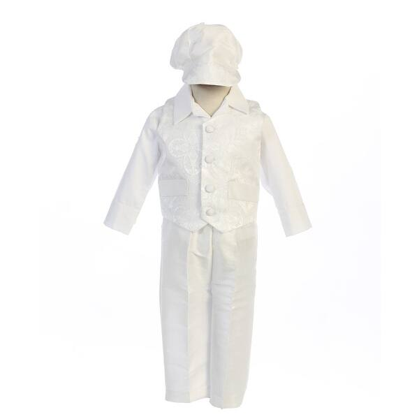 ff1803c45 Baby Boys White Brocade Vest Poly Bengaline Pant Hat Baptism Set