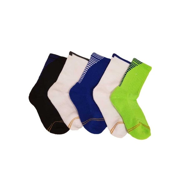 Gold Toe Boy's 5 Pair Ultra Tex Sports Crew Medium - white/black/royal/green