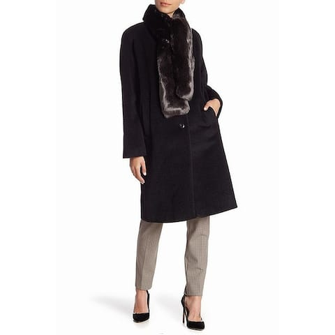Cole Haan Black Womens Size 6 Faux Fur Tie Button Front Coat