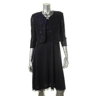 Jessica Howard Womens Petites Mesh Lace Jacket Dress With Jacket - 14P
