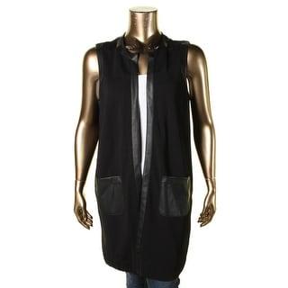 Lauren Ralph Lauren Womens Plus Casual Vest Faux Leather Sleeveless