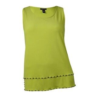 Alfani Women's Studded Hem Sleeveless Crepe Top (Polished Lime) - XL