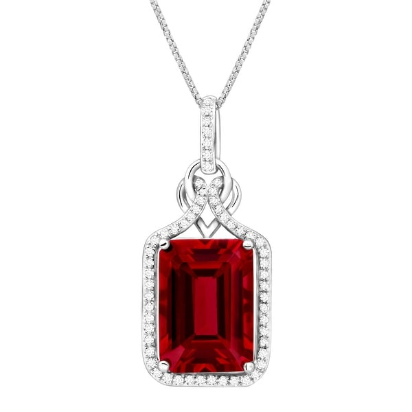 10 ct Created Ruby & 1/4 ct Diamond Pendant in Sterling Silver - Red
