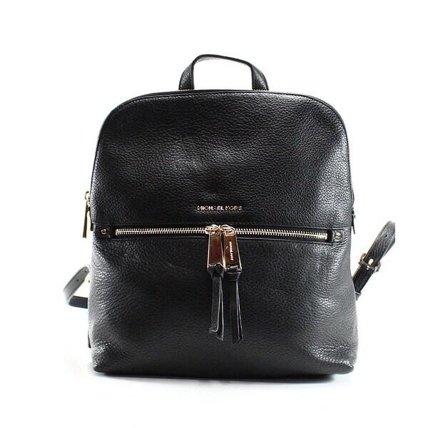 9c8158fa8f9d08 Shop Michael Kors NEW Black Gold Pebbled Leather Slim Rhea Backpack ...