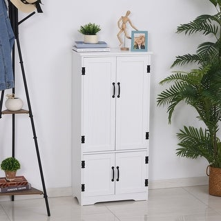 Link to HOMCOM 4-Door Practical Storage Cabinet Multi-Storey Flexible Space Pantry w/Adjustable Shelves 2 Lower Doors, White Similar Items in Team Sports Equipment