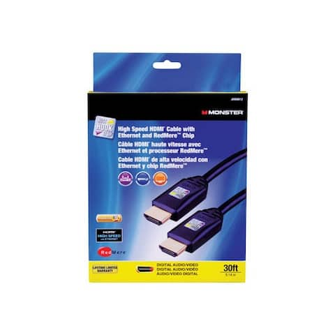 Monster JHIU0012 Just Hook It Up High Speed HDMI Cable With Ethernet, 30'