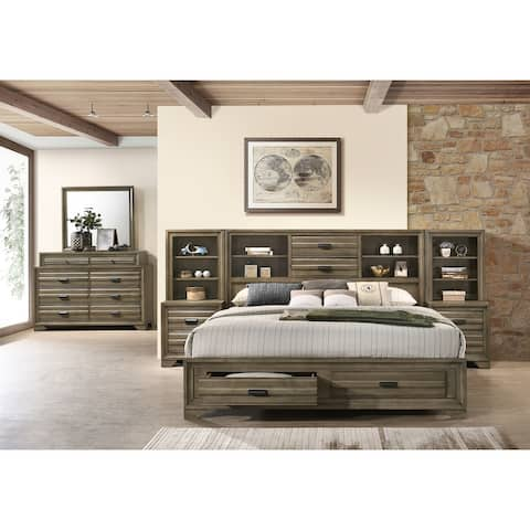 Loiret Light Grey Finish Wood Storage Platform WallBed with Dresser and Mirror