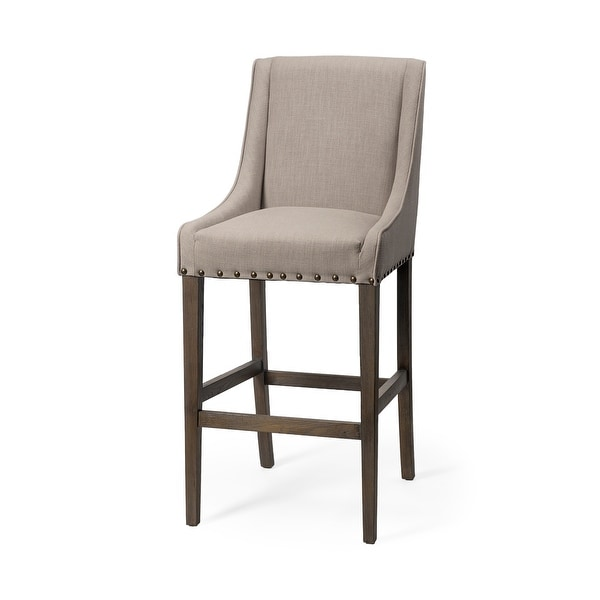 """Mercana Kensington 32"""" Seat Height Beige Fabric Seat Brown Wood Base Stool. Opens flyout."""