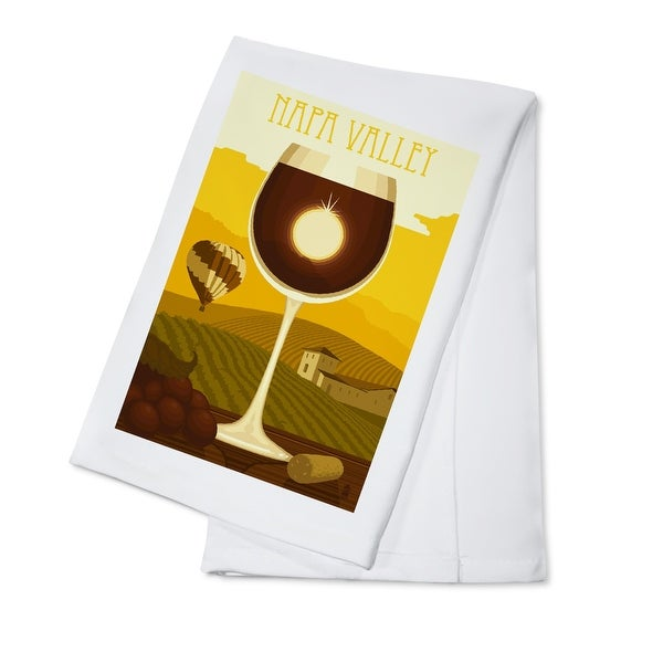 Napa Valley, CA Wine Glass & Vineyard - LP Artwork (100% Cotton Towel Absorbent)