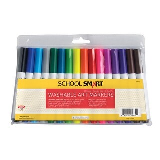School Smart Non-Toxic Washable Marker, Chisel Tip, Assorted Colors, Pack of 16