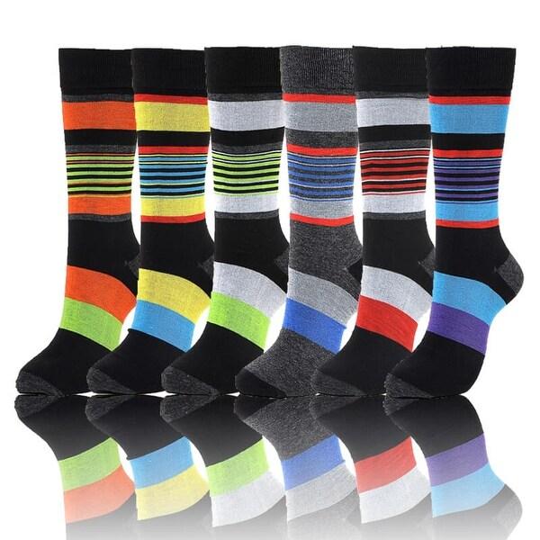 Stripes Print Mens Cotton Dress Socks Multicolored (Size 10-13)