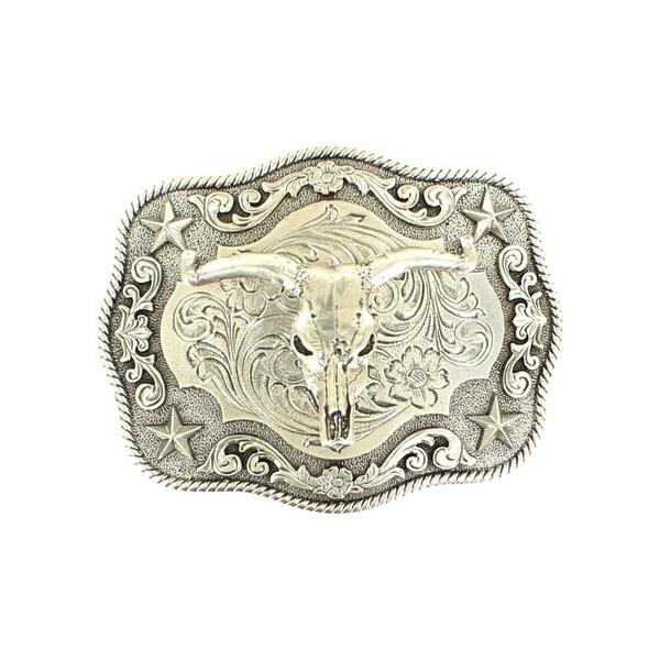 """Nocona Western Belt Buckle Steer Skull Rope Floral Silver - 3 3/4"""" x 3"""""""