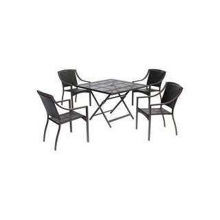 Hanover Outdoor ORLDN5PCSQ-BRN Orleans 5-Piece Dining Set with 42 In. Square Table - brown
