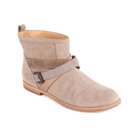 Brunello Cucinelli Womens CrissCross Buckle Brown Ankle Boots