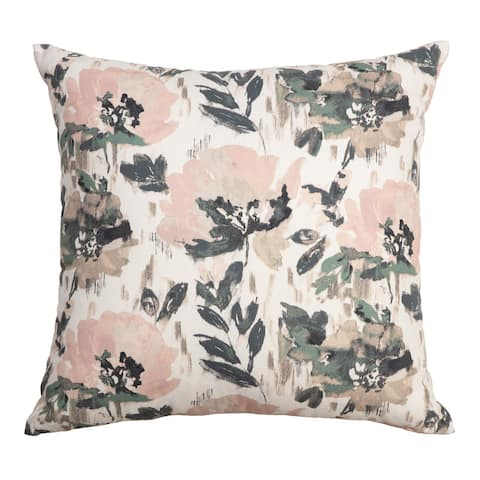 """Arden Selections Home 20"""" Throw Pillow - Pink and Green Pastel Watercolor Floral"""