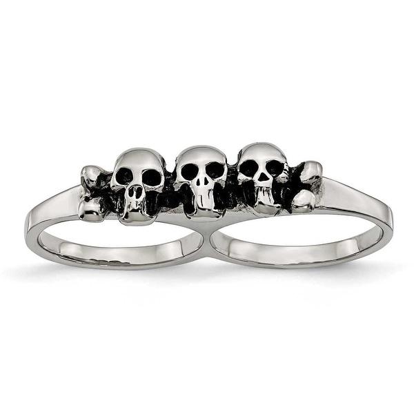 Chisel Stainless Steel Polished & Antiqued Two Finger Skulls Ring