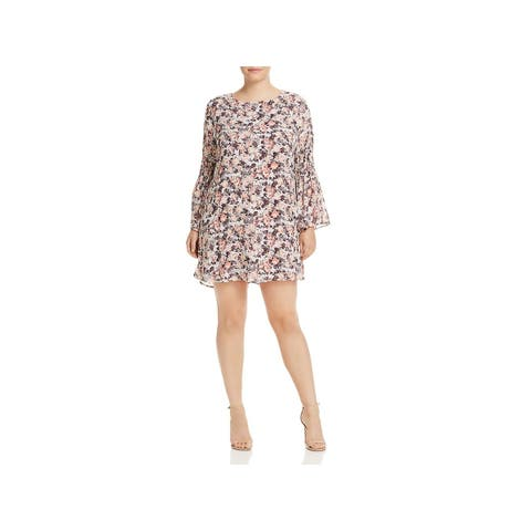 Bobeau Womens Plus Jude Casual Dress Floral Flare Sleeves - 2X