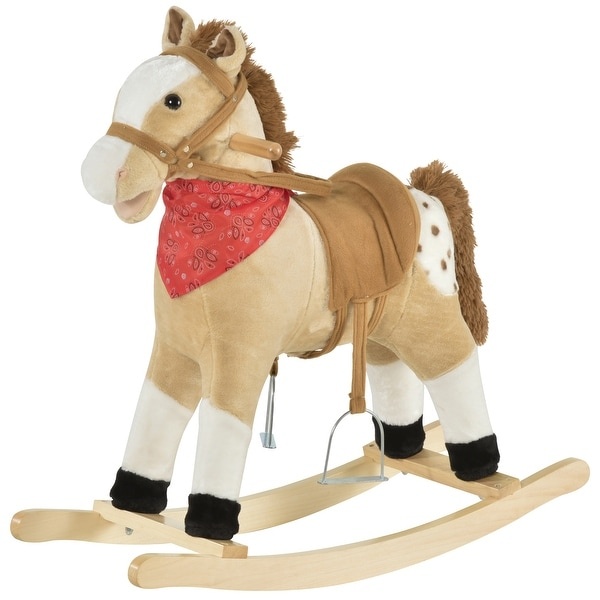 Qaba Kids Plush Ride-On Rocking Horse Toy Cowboy Rocker with Fun Realistic Sounds for Child 3-8 Years Old. Opens flyout.