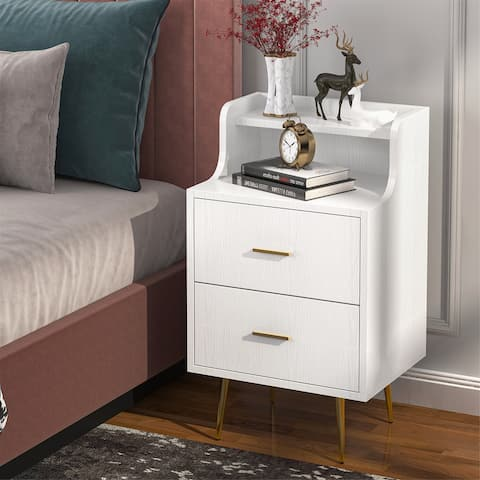 Nightstand, Modern Bedside Table with 2 Drawers and Open Shelf
