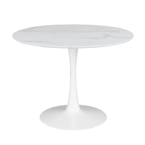 Arkell White 40-inch Round White Faux Marble Dining Table