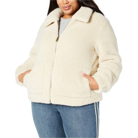 Style & Co. Womens Teddy Jacket, off-white, 2X/3X