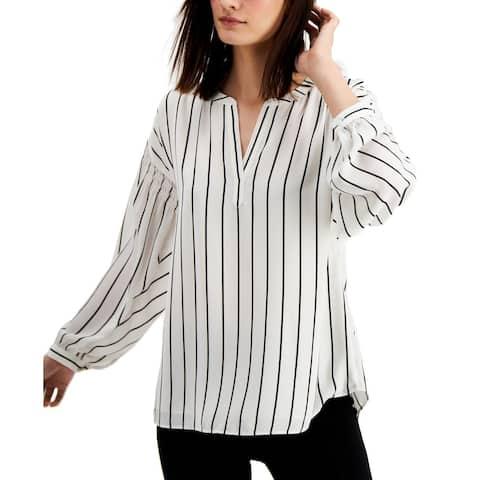 Alfani Women's Blouse White Black Size Small S Striped Split Neck