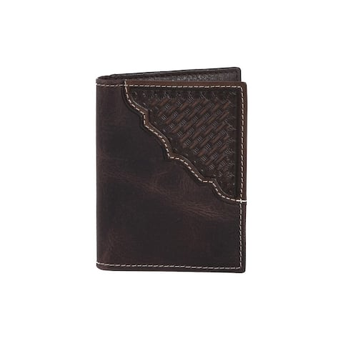 Scully Western Wallet Mens ID Panel 3.25 x 4 x .5 Chocolate - 3.25 x 4 x .5