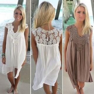 Casual Chiffon Dress V neck Short Sleeve Lace