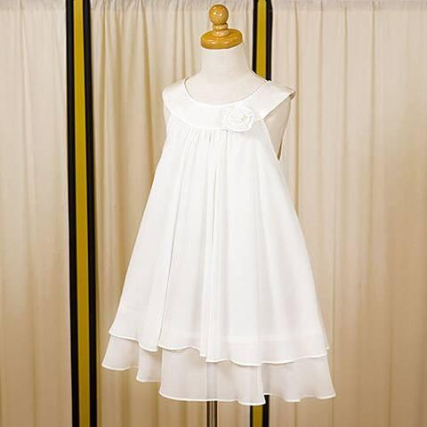 Kids Dream Little Girls White Chiffon A Line Flower Girl Dress 2-14