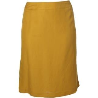 Tahari ASL Womens Plus Michelle Linen Blend Back Slit Pencil Skirt - 24W