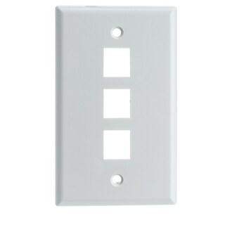 Offex Keystone Wall Plate, White, 3 Hole, Single Gang