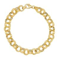 Eternity Gold Triple Rolo Link Chain Bracelet in 14K Gold - Yellow