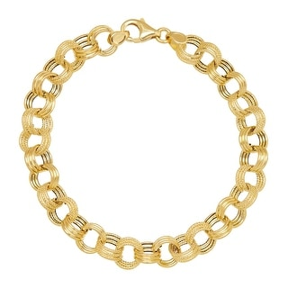 Just Gold Triple Rolo Link Chain Bracelet in 14K Gold