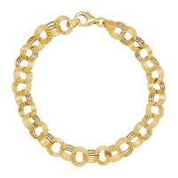Just Gold Triple Rolo Link Chain Bracelet in 14K Gold