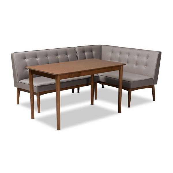 Arvid Mid-Century Modern Gray Fabric Upholstered 3-Piece Wood Dining Nook Set. Opens flyout.