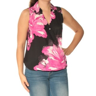 INC Womens Black Floral Sleeveless Collared Faux Wrap Top  Size: S