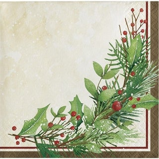 """Pack of 192 Off White and Green Winter Wreath Printed Square Beverage Napkin 5"""""""