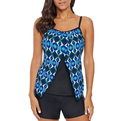 Women Floral Tankini Tummy Control Swimwear Two Piece Bathing Suit