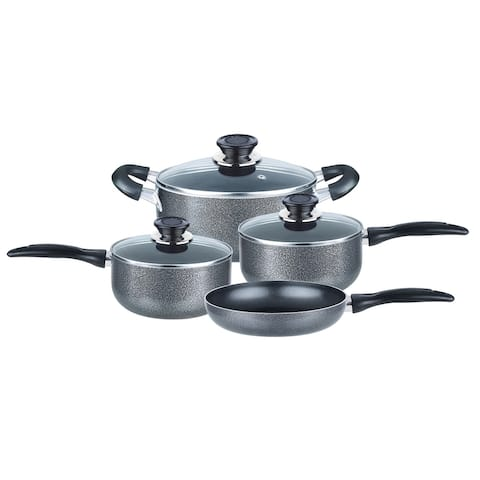 Brentwood 7 Piece Nonstick Aluminum Cookware Set in Granite