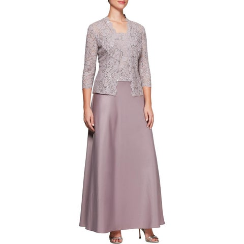 Alex Evenings Womens Dress With Jacket Lace Sequined