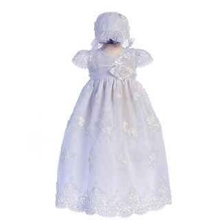 Crayon Kids Baby Girls White Flower Embroidered Bonnet Baptism Dress