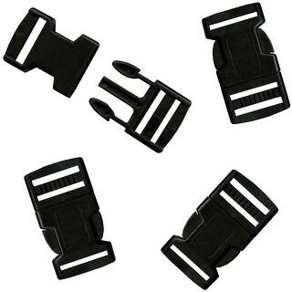 Parachute Cord Bracelet Buckles 20mm 4/Pkg-Black - Black