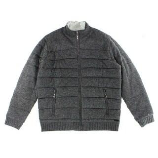 Tasso Elba NEW Gray Mens Size Large L Puffer Textured Zipped Jacket