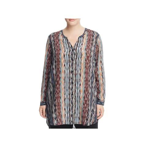 Nic + Zoe Womens Plus Tunic Top Silk Cuff Sleeves