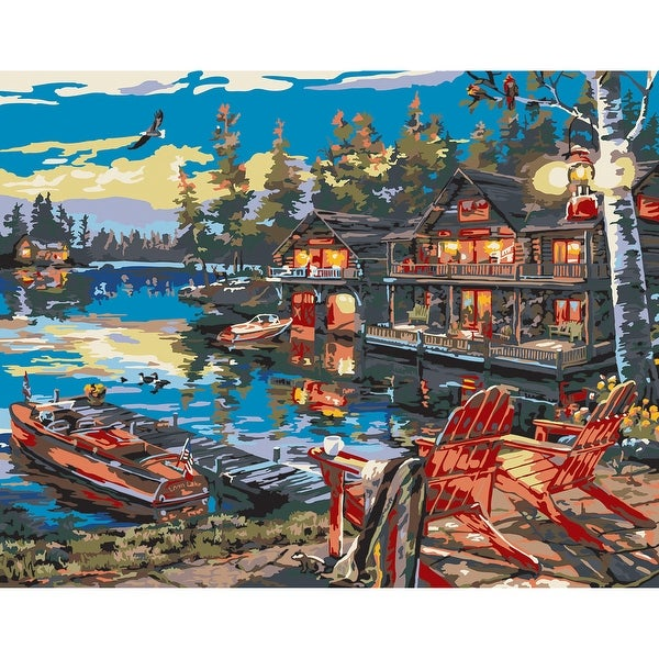 "Paint By Number Canvas W/Lights Kit 11""X14""-Loon Lake"