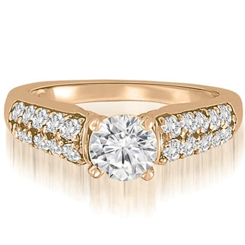 1.35 cttw. 14K Rose Gold Cathedral Style Round Cut Diamond Engagement Ring