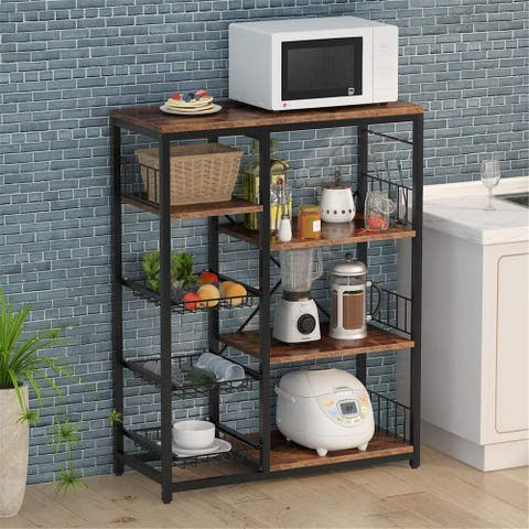 Kitchen Baker's Rack, Corner Storage Shelf with 3 Mesh Baskets and 6 Hooks - Rustic brown