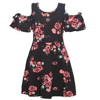 Girls Orange Contrast Flower Print Cold-Shoulder Tea-Length Dress